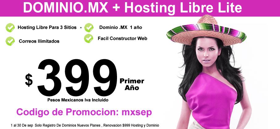 Dominio .MX y hosting libre Oferta Web Hosting